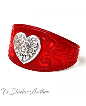Hand Tooled Red Leather Cuff Bracelet Wristband with Heart Concho