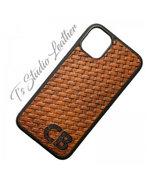 Hand Tooled Leather Phone Case - Western Style basketweave phone case for iPhone or Samsung