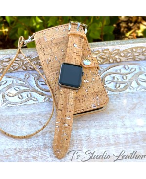 Cork Wallet Style Phone Case with Matching Watch Band