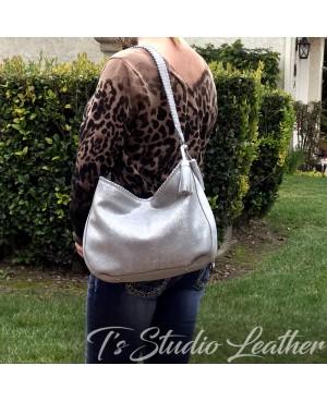 Silver Metallic Suede Leather Hobo Handbag