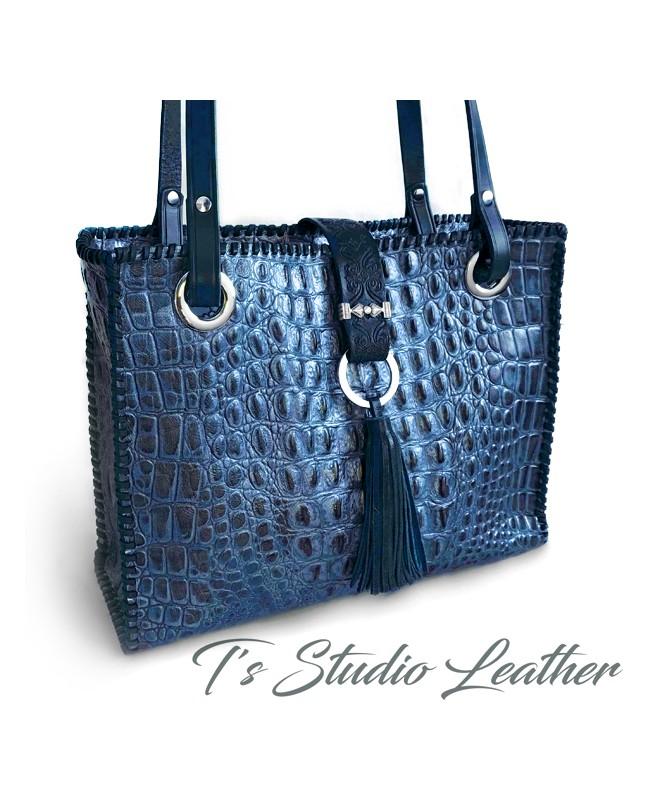Crocodile Embossed Leather Tote in Deep Blue