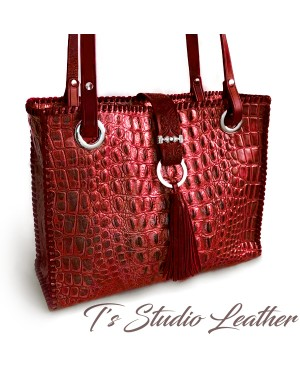 Crocodile Embossed Leather Tote in Deep Red