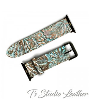 Western Style Brown and Turquoise Leather Apple Watch band