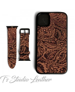 Western Style Brown and Black Leather Phone Case with matching Apple Watch band