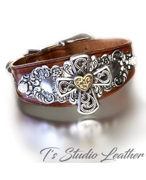 Hand Tooled Leather Cuff Bracelet Wristband with Heart Concho