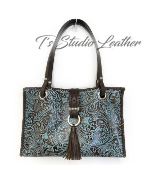 Floral Tooled Tote in Blue and Brown Embossed Leather