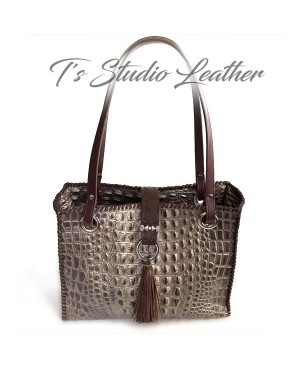 Crocodile Embossed Leather Tote in Pewter and Brown