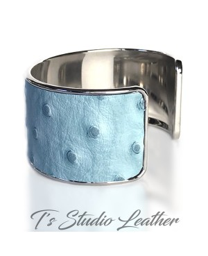 Baby Blue Ostrich Leather Cuff Bracelet