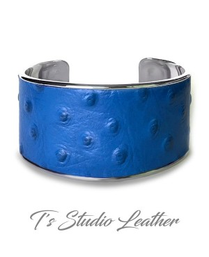 Royal Blue Ostrich Leather Cuff Bracelet