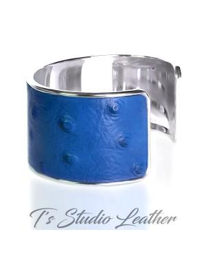 Royal Blue Ostrich Leather Cuff Bracelet