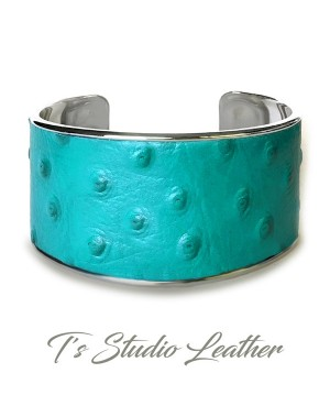 Turquoise Ostrich Print Leather Cuff Bracelet