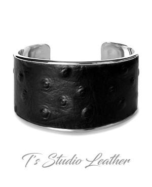 Black Ostrich Print Leather Cuff Bracelet