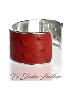 Red Ostrich Leather Cuff Bracelet