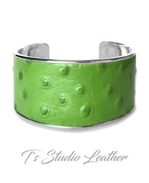 Green Ostrich Leather Cuff Bracelet