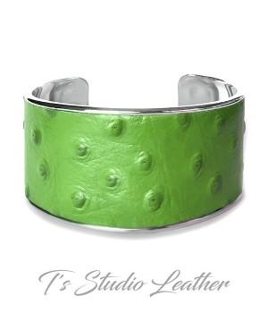 Green Ostrich Leather Cuff Bracelet