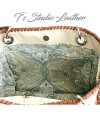 Off-White Ostrich Leather Purse - Genuine Cowhide Embossed Leather Handbag in Emu Texture