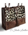Cheetah Leopard Print Hair-on Leather Purse with Tooled Brown Embossed