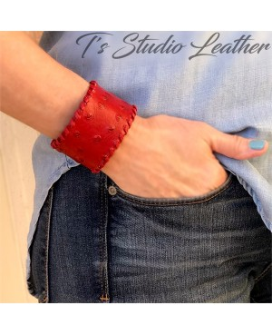 Red Leather Cuff Bracelet in Ostrich Print with Whipstitched Edge