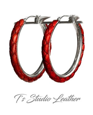 Whiskey Brown Braided Leather Earrings on Silver Hoops