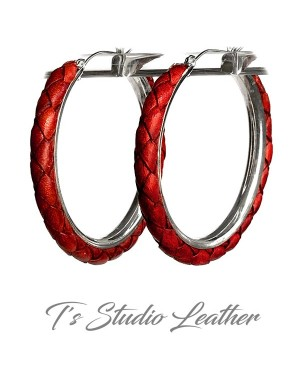 Dark Red Braided Leather Earrings on Silver Hoops