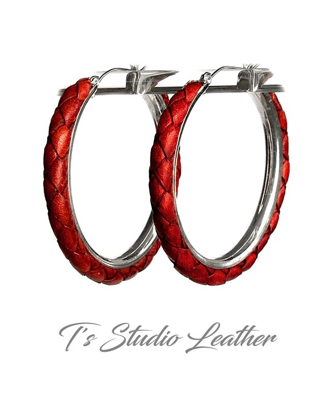 Red Braided Leather Earrings on Silver Hoops