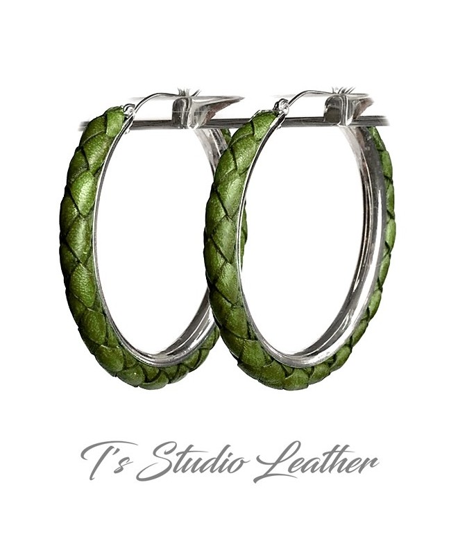 Green Braided Leather Earrings on Silver Hoops
