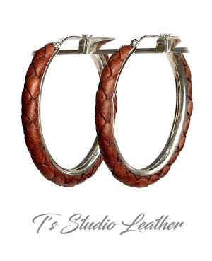 Black Braided Leather Earrings on Silver Hoops