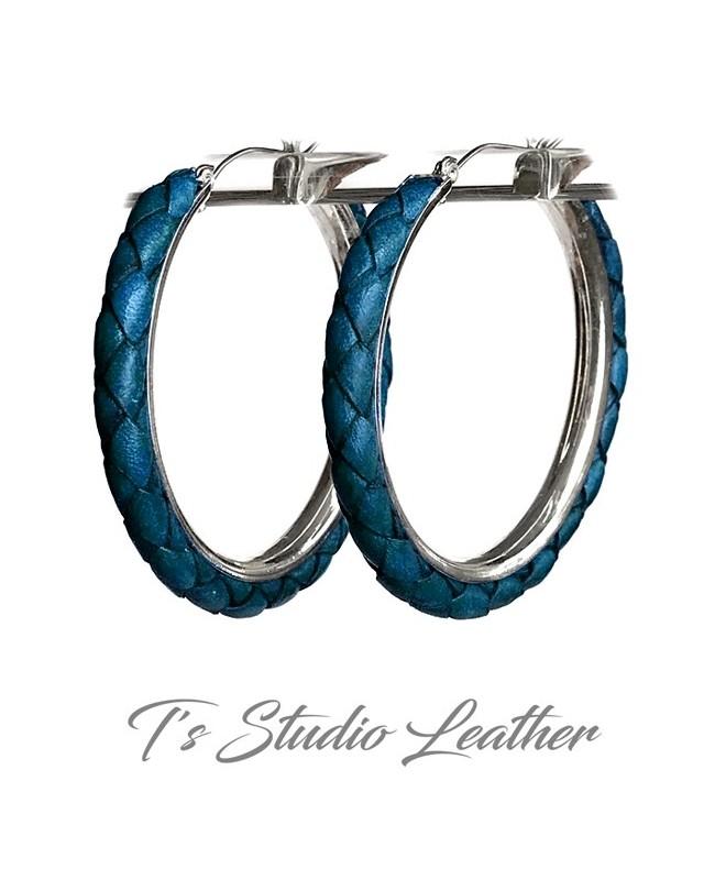 Dark Blue Braided Leather Earrings on Silver Hoops