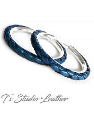 Dark Blue Braided Leather Earrings on Silver Hoops