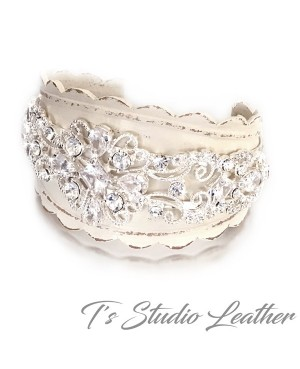 Rhinestone & Leather Rustic Wedding Ivory Bridal Cuff Bracelet Wristband