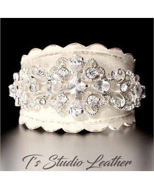 Rhinestone & Leather Rustic Wedding Ivory Bridal Cuff Bracelet Wristband