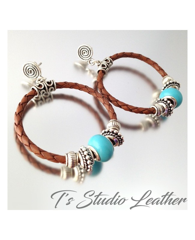 Brown Braided Leather Hoop Earrings