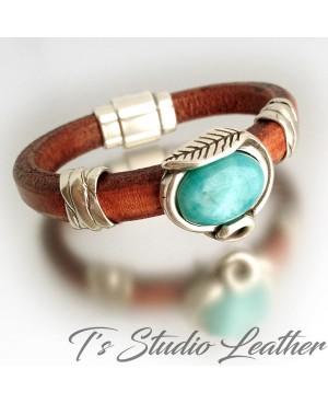 Brown Braided Leather Hoop Earrings