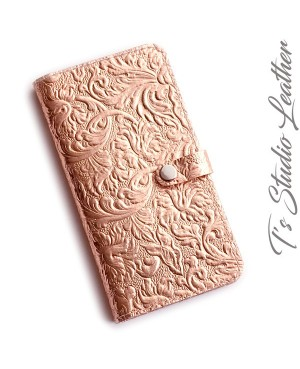 Metallic Rose Gold Cowhide Leather Wallet Style Phone Case