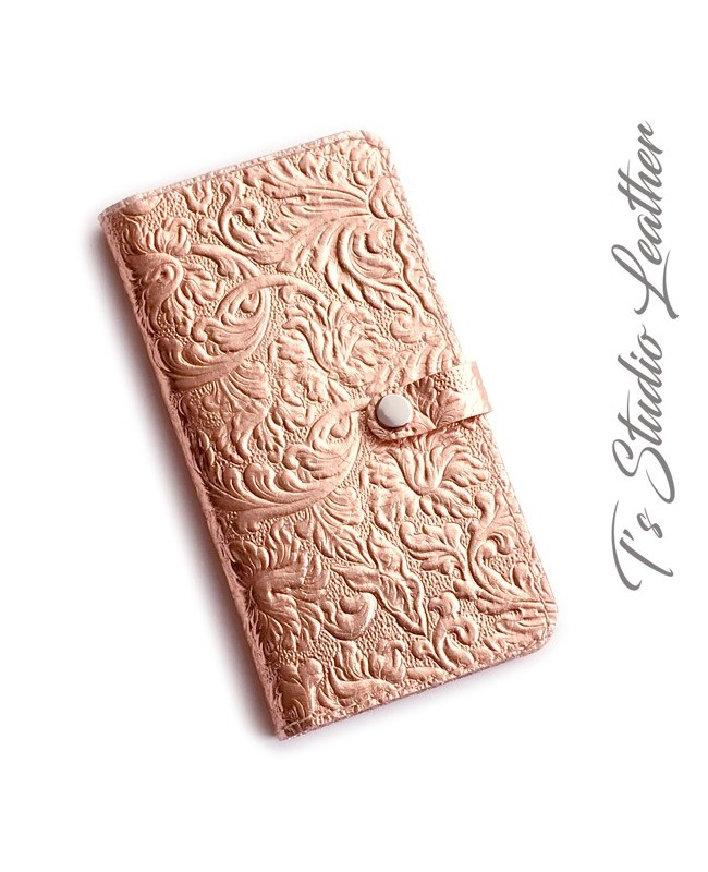 Ts Studio Leather Metallic Rose Gold Cowhide Wallet Style Phone Case
