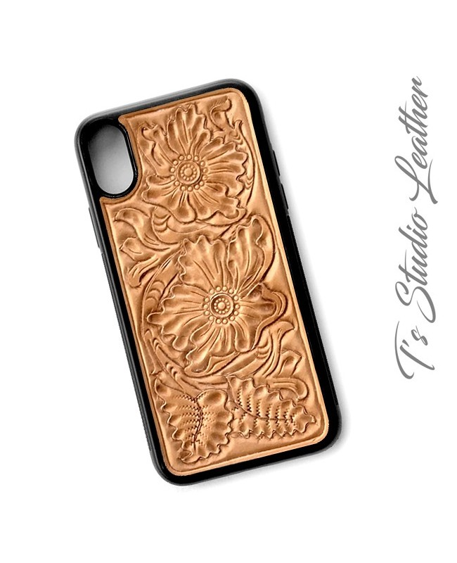 pretty nice f3ffa e966b Hand Tool Tooled Leather iPhone Case Western floral 7 Plus 8 X XS Max