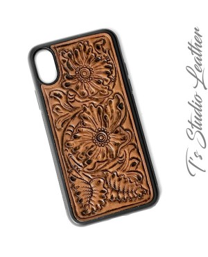 Hand Tooled Leather iPhone Case - Western Style floral case for iPhone 6 Plus, 7 Plus, 8, X, 10