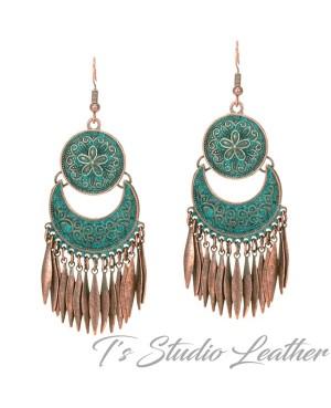Copper Patina Bohemian Chandelier Earrings