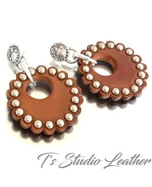 Brown Leather Rosette Concho Hoop Earrings