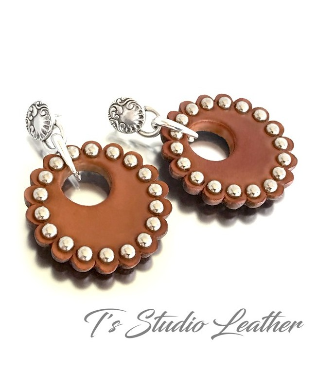 Hoop Earrings - Brown Leather Rosette Concho Donut Earings with Silver Stud Rivets