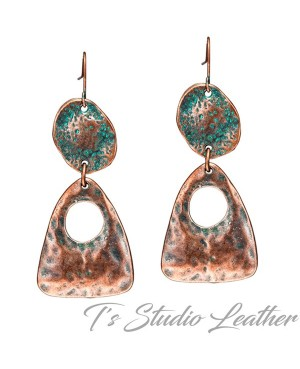 Copper Patina Boho Chic Dangle Earrings