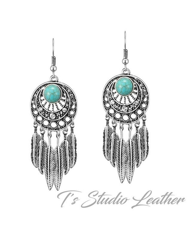 Silver Turquoise Feather Bohemian Earrings