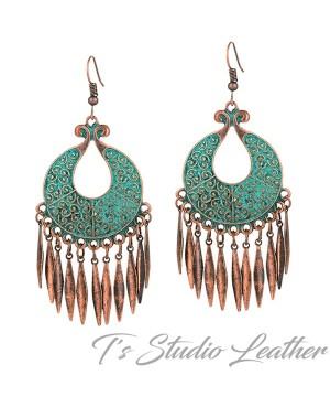 Copper Patina Boho Hoop Chandelier Earrings