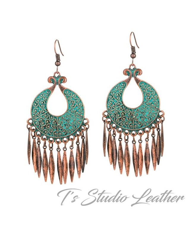 Copper Patina Boho Hoop Chandelier Earrings