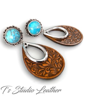 Brown Tooled Leather Hoop Earrings with Turquoise and Silver Accents - Floral Motif Boho Jewelry
