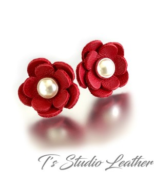 CHOOSE YOUR COLOR Leather Flower Stud Earrings with Pearl or Crystal Center