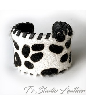 Cowhide Hair-on Leather Cuff Bracelet in Black and White Print with Whipstitched Edge