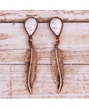 Silver Feather Turquoise Earrings