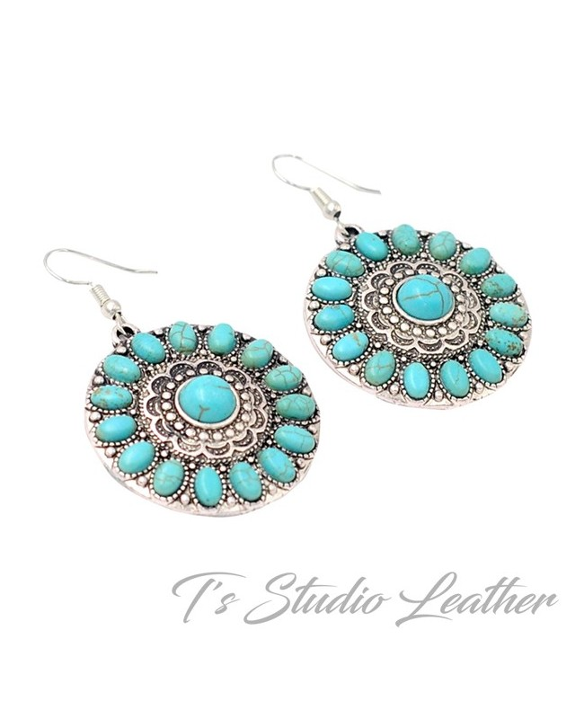 Western Style Silver and Turquoise Earrings