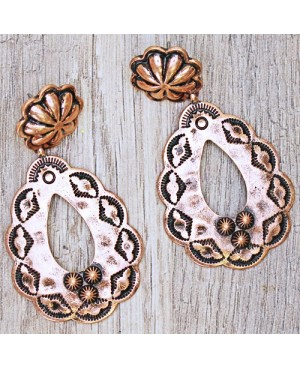 Vintage Western Antique Copper Hoop Earrings